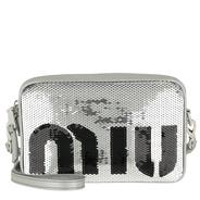 b9620669481 Miu Miu Tasche - Sequin Logo Crossbody Bag Argento Nero - in silber - Tasche